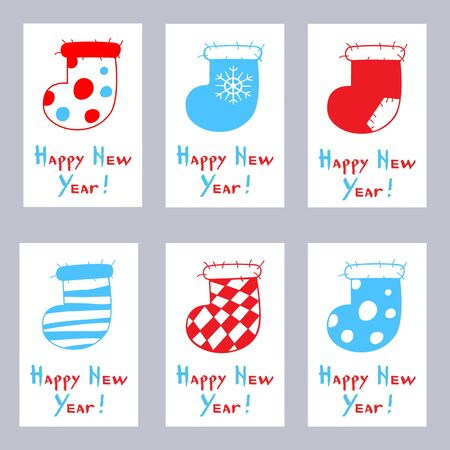 Set of greeting cards. Six cartoon Christmas stockings on a white background. Happy New Year calligraphy. Vector illustration of winter symbols.