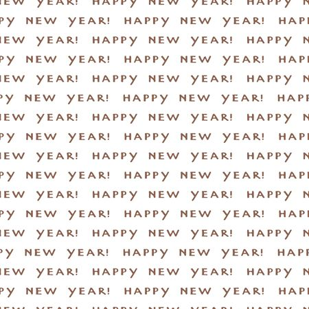 Happy New Year  handwritten phrase on a white background. Vintage seamless pattern. Vector illustration of winter symbols.