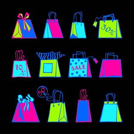 Neon-colored set of hand-drawn shopping bags and tags on a black background. Vector illustration.    Ilustração