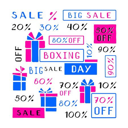 Neon colored set of stickers of Big Sale, percents and Boxing Day on a white background. Hand-drawn collectoion. Vector illustration. Ilustração