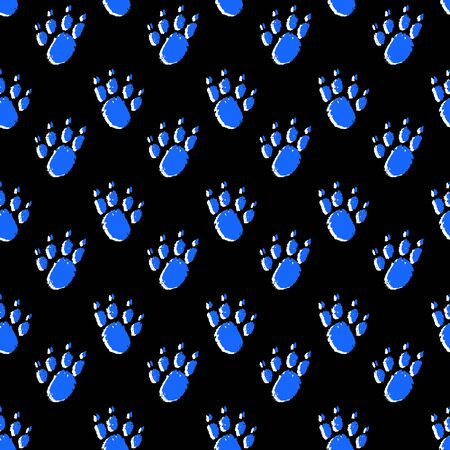 Seamless neon-colored pattern of stylized dog footprints on a black background. Hand-drawn collection. Collection of hand drawn cartoons. Vector illustration of winter symbols.