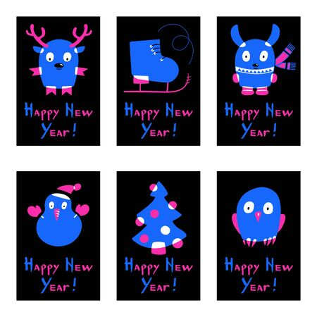 Set of neon style cards. Christmas balls, snowman, deer, ice skate, rabbit, owl and tree pine. Happy New Year calligraphy. Pink and blue fluorescent colors. Vector illustration of  winter symbols.