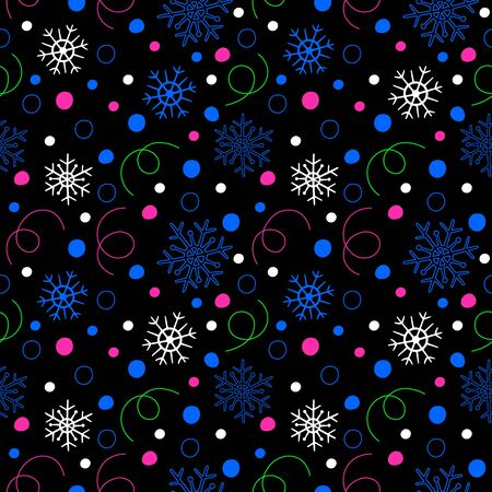 Seamless neon style pattern of pink, green and blue confetti and snowflakes on a black background. Vector illustration of winter symbols. Ilustração