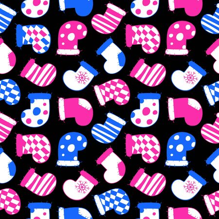 Neon style seamless pattern of blue and pink Christmas stockings with snowflakes, patchs, stripes and checkered fabric. Vector illustration of winter symbols on a black background.