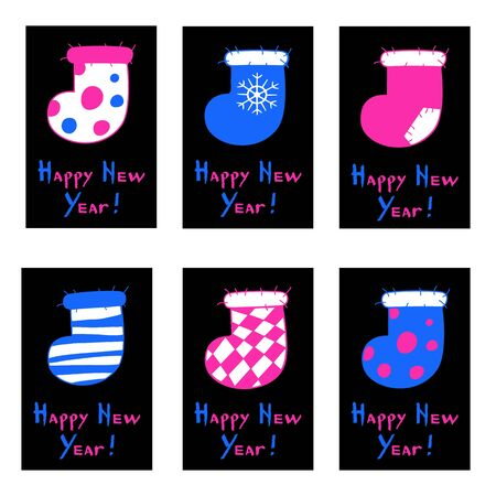 Set of neon style greeting cards. Pink and violet fluorescent Christmas stockings on a black background. Happy New Year calligraphy. Vector illustration of winter symbols.