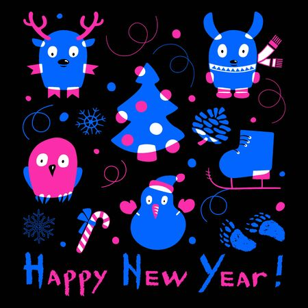 Neon-colored set of Christmas balls, snowman, deer, ice skate, rabbit, owl and Christmas tree on a black background. Happy New Year calligraphy. Vector illustration of winter symbols.