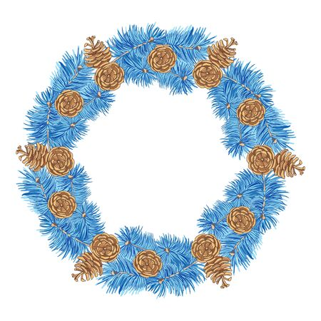 Wreath of blue spruce branches and cones on a white background. Hand-drawn collection of festive decor and greeting cards. Vector illustration. Ilustração
