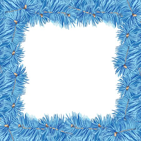 Square Frame. Blue fir branches on white background. Vintage hand drawn collection of holiday decor and greeting cards. Vector illustration.