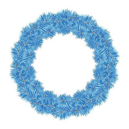 Wreath of blue spruce branches on a white background. Vintage hand drawn collection of festive decor and greeting cards. Vector illustration. Ilustração