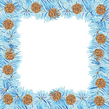 Ponderosa pine. Square openwork frame. Blue branch of pine covered with hoarfrost and cones on white background. Vintage hand drawn collection of holiday decor and greeting cards. Vector illustration.