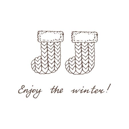 Handwritten calligraphy Enjoy the winter! and warm felt boots on a white background. Monochrome vintage picture with winter symbols. Vector illustration of winter accessories. Ilustração