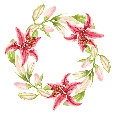 Three Pink-Red Lilies. Wreath of pink-red flowers, green leaves and buds on a white background. Hand-drawn collection of greeting cards. Vector illustration.