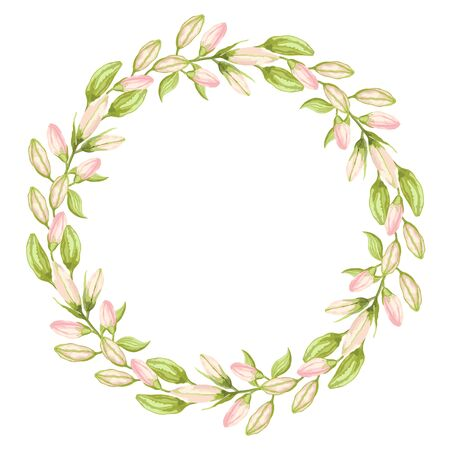 Wreath of pink and green lily flower buds on a white background. Hand-drawn collection of festive decor and greeting cards. Vector illustration.
