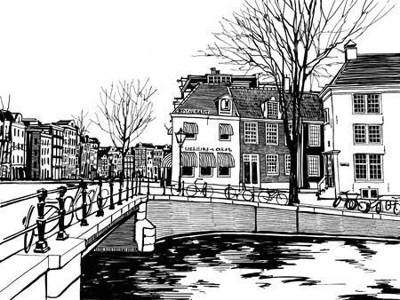 Central streets, bicycles, houses and canals of Amsterdam, Netherlands. Hand-drawn collection of urban sketches of European cities. Black and white illustration.