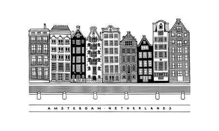 Damrak Avenue. Central street, houses and canals of Amsterdam, Netherlands. European city. Hand-drawn collection of urban sketches. Vector illustration. Vector Illustratie
