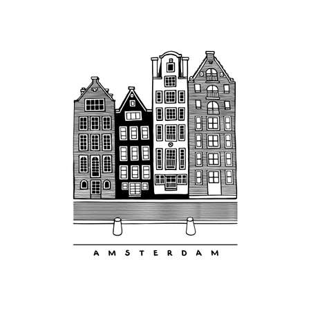Four houses of Damrak Avenue, Amsterdam, Netherlands. Central streets, houses, and canals of European city. Hand-drawn collection of urban sketches. Vector illustration.