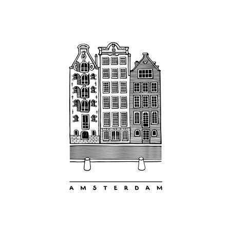 Three houses on the Damrak Avenue, Amsterdam, Netherlands. Central streets, houses, and canals. Hand-drawn collection of urban sketches. Vector illustration of European city.
