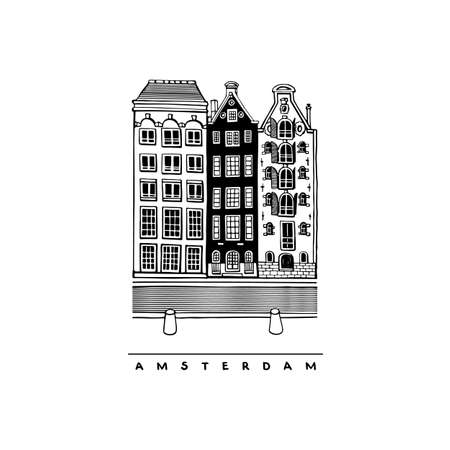 Houses on the Damrak Avenue, Amsterdam, Netherlands. Central street. Hand-drawn collection of urban sketches. Vector illustration of European city.