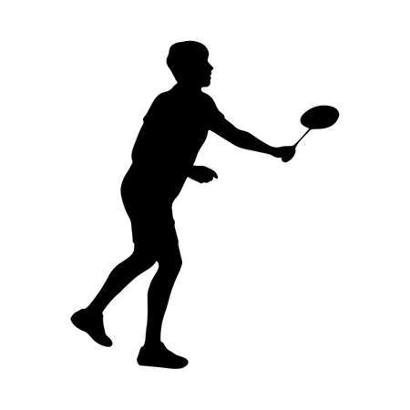 Badminton. Silhouette of a man moving to the net. Vector illustration of sports collection.