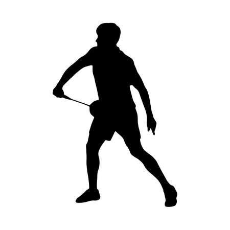 Badminton. Silhouette of a man performing a defensive shot. Vector illustration of sports collection.