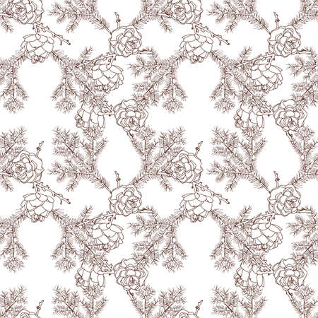 European larch cones and branch on white background. Sepia color. Seamless pattern. Vector illustration. Vettoriali