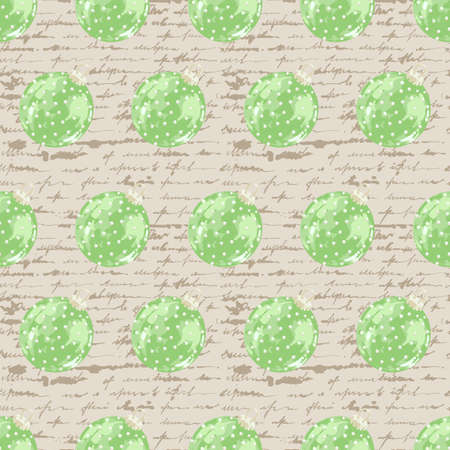 Seamless pattern of green christmas balls on an unreadable letter background. Female handwriting in ink. Vector illustration.