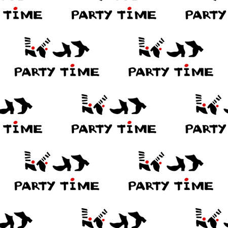 Party time icon and calligraphy. Seamless pattern of dancing feet. Vector Illustration.