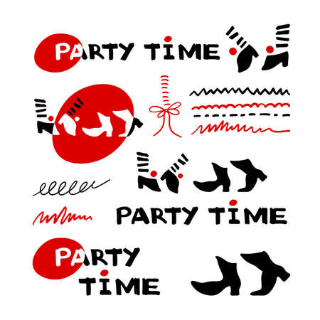 Set of Party time icons and calligraphy. Dancing feet. Vector Illustration.