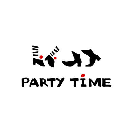 Party time icon and calligraphy. Dancing feet. Vector Illustration.