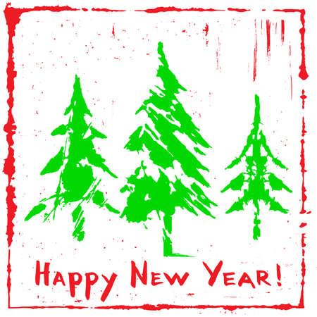 Three Green Silhouettes of Christmas Tree. Happy New Year greeting card. Winter symbols collection. Vector Illustration on a white background. Standard-Bild - 157137195