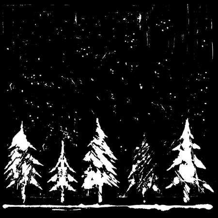 Five silhouettes of Christmas tree in the snow, night sky and snowfall. Greeting card. Winter symbols collection. Vector Illustration on a white background. Standard-Bild - 157137420