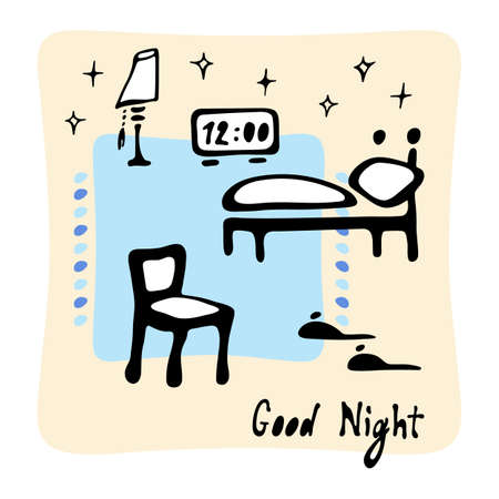 Bedroom, chair, lamp, slippers and bed. Good night lettering. Hand drawn cartoon collection. Vector illustration on white background. Vettoriali