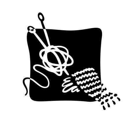 Ball of thread and knitting scarf icon. Black and white doodle sticker. Hand drawn cartoon collection. Vector illustration on a white background.