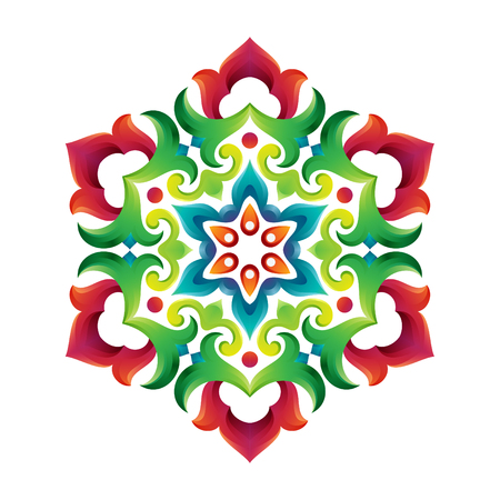 Tatar native ornamental mandala in Turkish and Arabic style. Floral ornament with tulips in circle. Colorful oriental pattern.