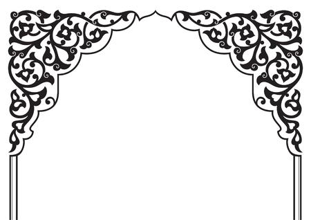 Arco floreale ornamentale tradizionale tartara. Motivo islamico turco in stile orientale. Decoro arabo di alta qualità fatto a mano in colore bianco e nero. Vettoriali