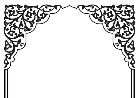 Tatar traditional ornamental floral arch. Oriental style turkish islamic pattern. High quality hand made arabic decor in black and white color.