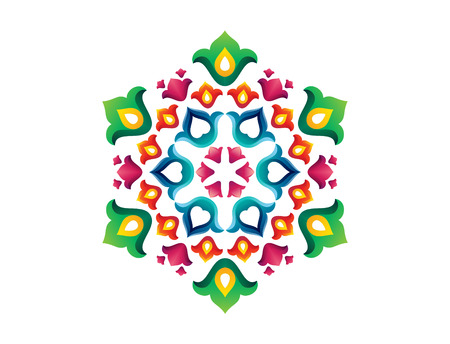 Tatar Native Ornamental Rosette in Arabic and Turkish style. Original hand made ornamental circle with colorful gradients in tatar tradition. Floral pattern with tulips and hearts. Ilustracja