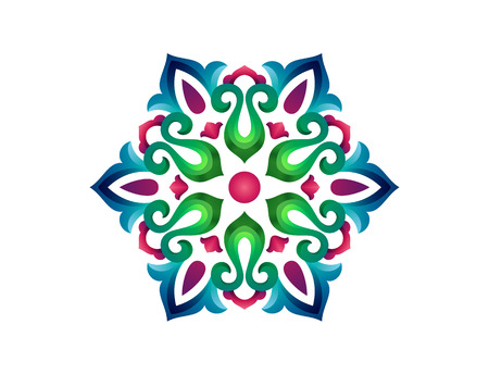 Tatar Native Ornamental Rosette in Arabic and Turkish style. Original hand made ornamental circle with colorful gradients in tatar tradition. Floral pattern with tulips. Ilustracja