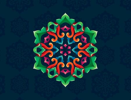 Tatar Native Ornamental Rosette in Arabic and Turkish style on pattern background. Moroccan hand made ornamental circle with colorful gradients in tatar tradition. Floral pattern with tulip and leaf
