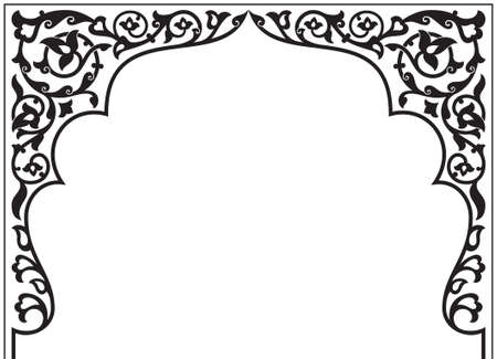 Tatar and Arabic traditional ornamental floral arch. Oriental style turkish islamic pattern. High quality hand made vector art with decorative ethnic elements arabic decor in black and white color.