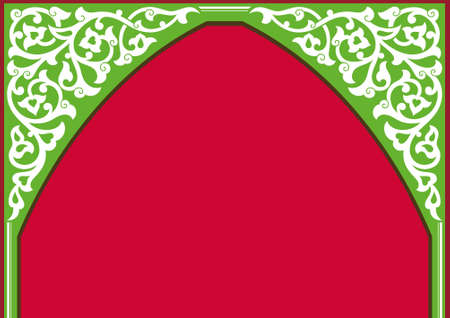 Tatar traditional ornamental floral arch. Oriental style Turkish islamic pattern. High quality hand made vector art with decorative ethnic elements Arabic decor. Colorful template Ilustracja