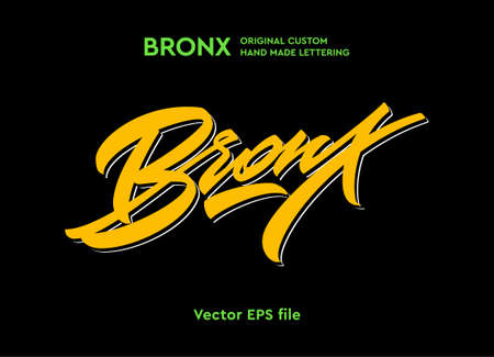 Bronx hand made calligraphic lettering in dynamic style. Typographic design work for t-shirts, greetings, advertising. New York city theme in original self-made style with eye-catching color