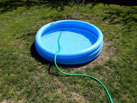 The pool is filled with water