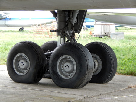 Aviation chassis of an airplane and a helicopter at the airport