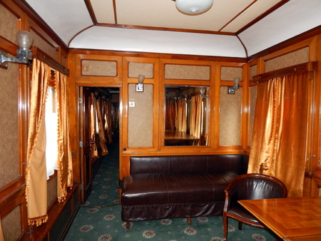 Interior of a railway car in a train