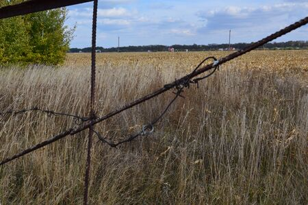 Barbed wire to protect the perimeter of land