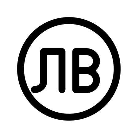 Illustration vector graphic icon of Bulgaria Lev currency. Line style icon. Vector illustration isolated on white background. Perfect for website or application design. Vektoros illusztráció