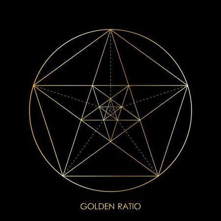 Pentagram. Pentagonal star. Golden section. Fibonacci number. Geometric shape. Abstract vector background. Vector Ilustrace