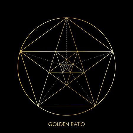 Pentagram. Pentagonal star. Golden section. Fibonacci number. Geometric shape. Abstract vector background. Vector Illustration