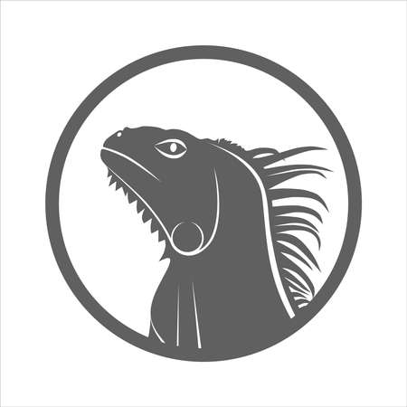 Icon iguana. Flat symbol iguana. Isolated gray sign iguana on white background. Vector Illustration Ilustração